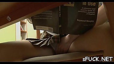 Immodest minded playgirl is studying and fucking quite often