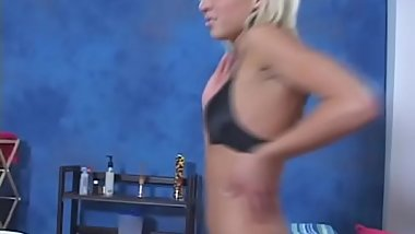 Nice babe with tiny tits and large bubble butt gives a throat job
